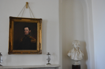 portrait of young Robert E. Lee and bust of the Marque de Lafayette