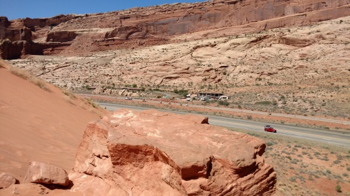 Looking across to the Arches National Park entrance.