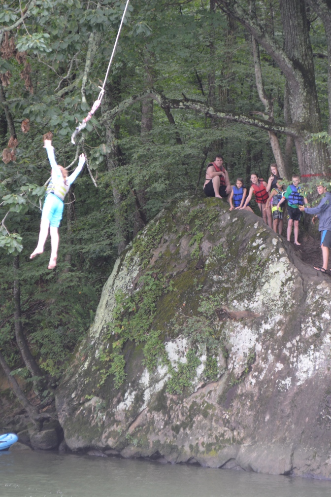 CQ LOVED the rope swing; MB was terrified watching others on it!