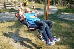 Pokemon Master 168 and I on the swing outside the horse area