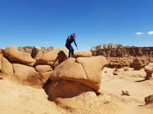 landing on a rock