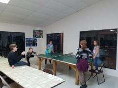 playing ping-pong in the rec. center