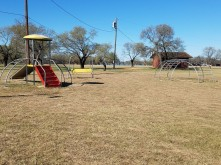 the jungle gym and the small play structure